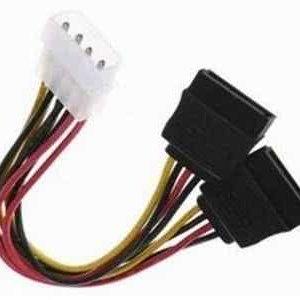 10cm Male Molex to 2 x Female Sata PC Power Splitter cable