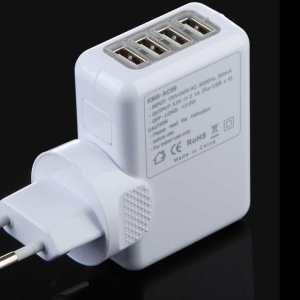 20 Watt Universal 4 Port USB 220 Volt Wall Socket Power Adapter / Charger for Smartphones / Tablets, Samsung, LG, Sony etc & Iphone 5 & 6, Ipad 1-4,mini