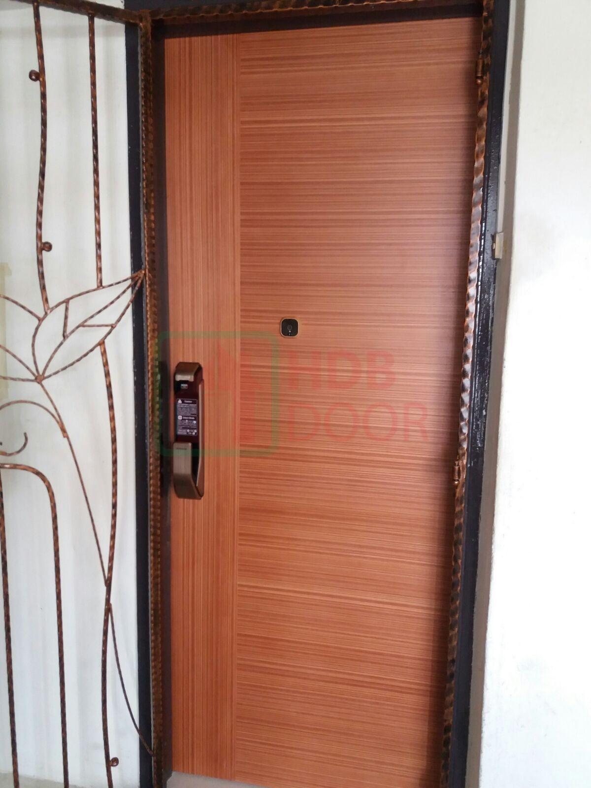 hdb laminate fire rated main door with samsung p718/p910 gold and digital door viewer