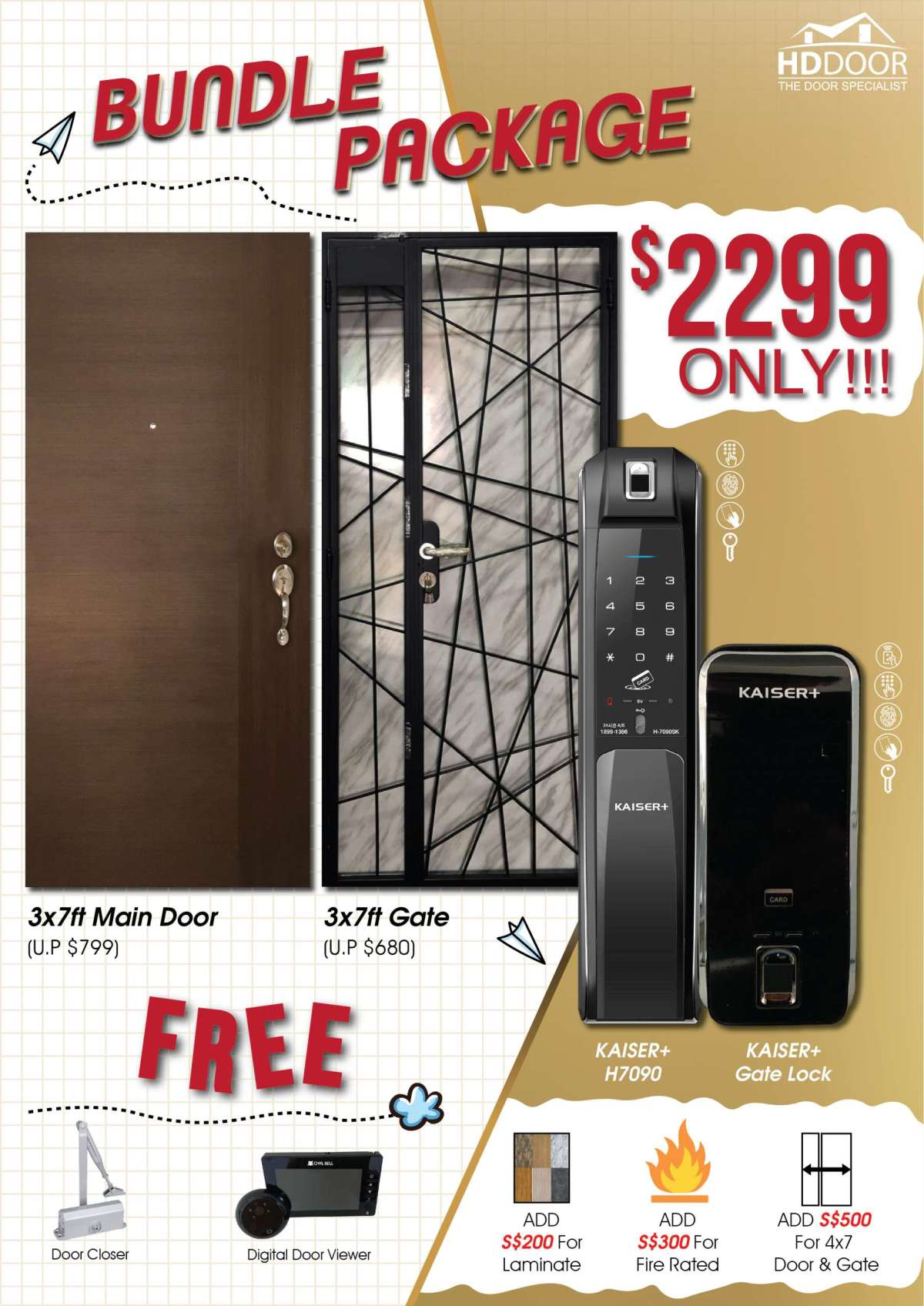Kaiser H7090 Kaiser gate digital lock bundle promotion 2020