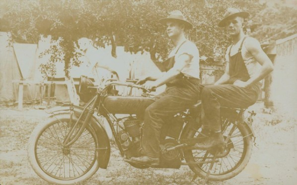 Marines Denman and Walford on an Indian motorcycle in Port au Prince, Haiti, June 1917.