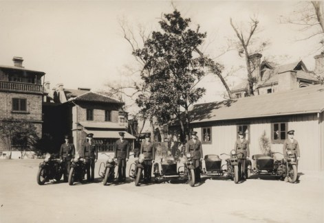 Motor Transport Marines line up with their motorcycles for inspection in China, circa 1930.