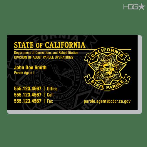 California Parole Agent DAPO Business Cards HDG Tactical