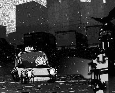 a taxi in the rain