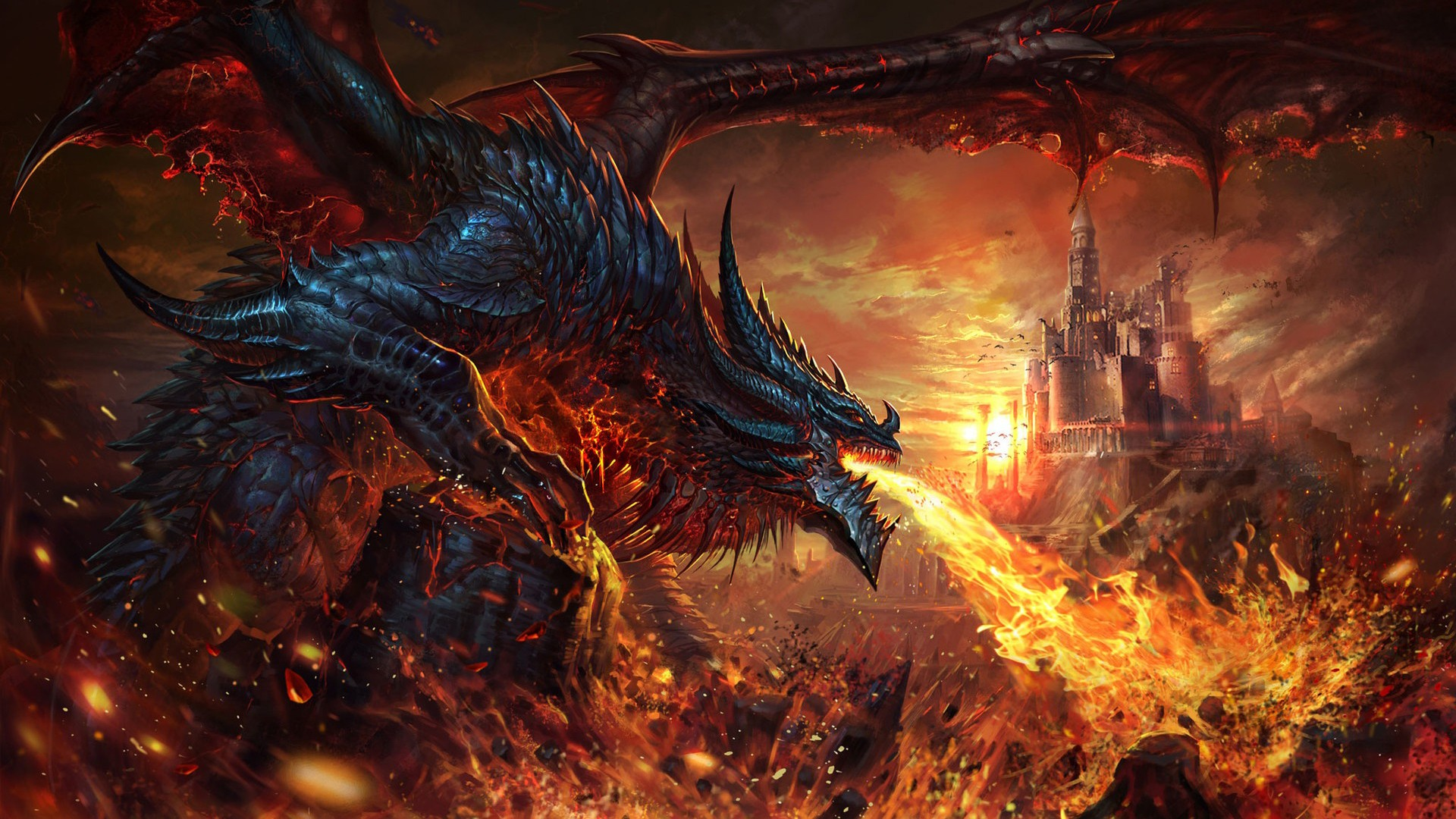 Fantasy Dragon Is Breathing Fire On Castle Hd Dreamy