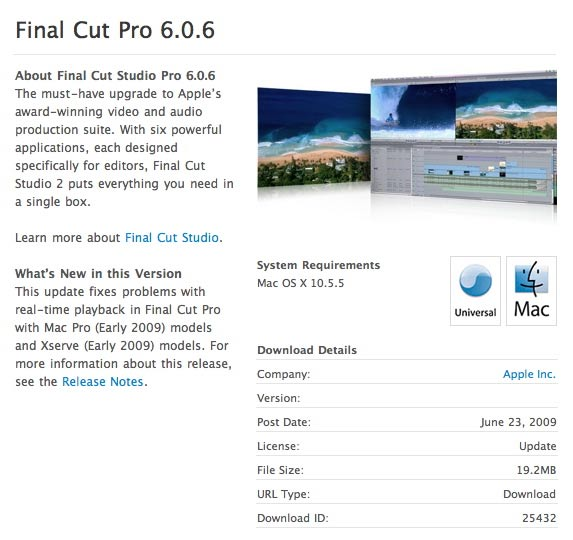 HD Warrior » Blog Archiv » Final Cut Pro 6 0 6