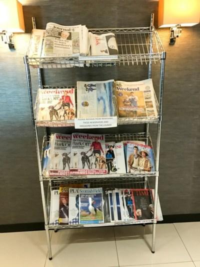 Aspire lounge Newcastle Airport magazines