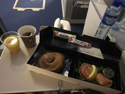Norwegian premium review - business class breakfast