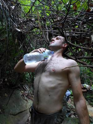 Stephane at the water point in the tioman jungle