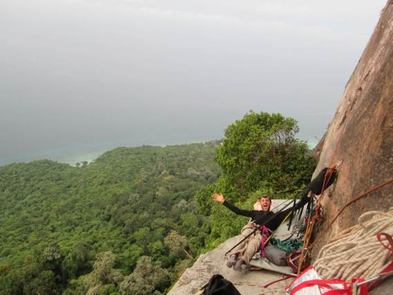 Morning on the portaledge on the Catwalk Waking Dream, Dragon's Horn - Tioman