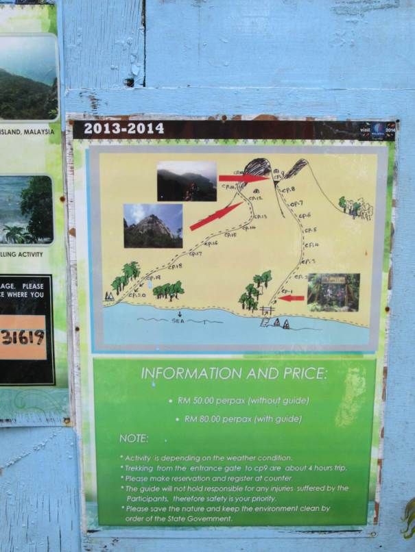 The information board at the dragon horns trail 1