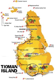 Tioman Island Simple Map