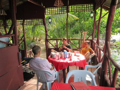 Enjoying a coffee at Simukut Hillview on Tioman Island before the ascent of Damai Sentosa