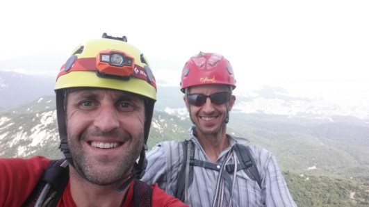 Stephane Coupleux and David Acott on Pitch 5 of Chouinard A Rock Climbing South Korea