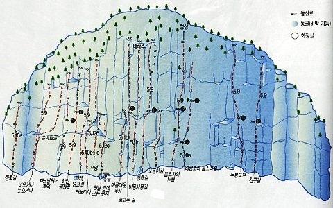 Topo fo Duta San Byeongpung-Am Rock Climbing South Korea