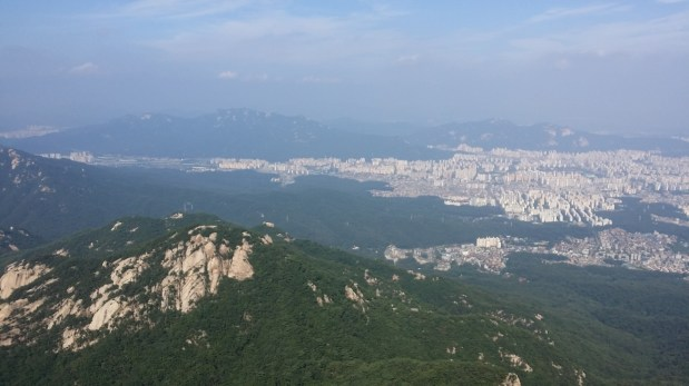 View of Seoul from the top of Insu-bong South Korea Rock Climbing Chouinard A