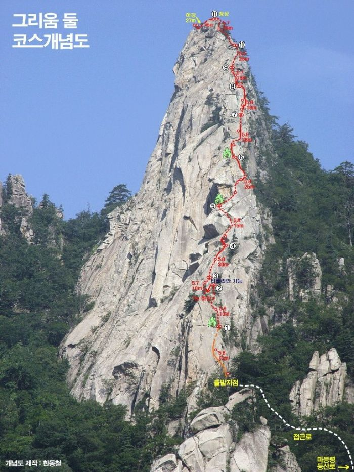Youseondae - Seoraksan - Topo Rock Climbing South Korea 2