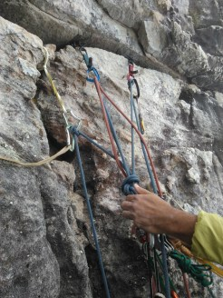 Belay stance on Jacob's ladder traverse
