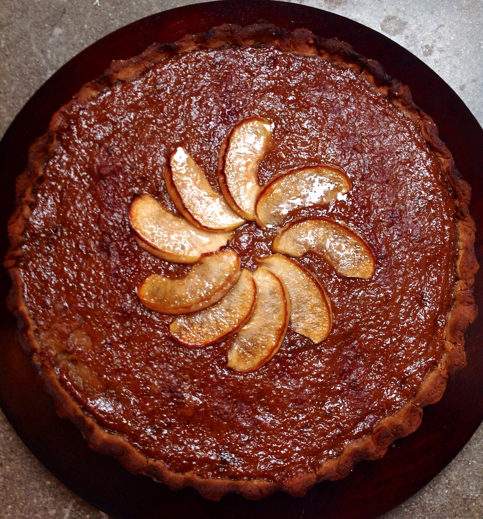 Vegan Chestnut flour Tart with Apple, Plums and Cinnamon Preserve, Caramelized Apples