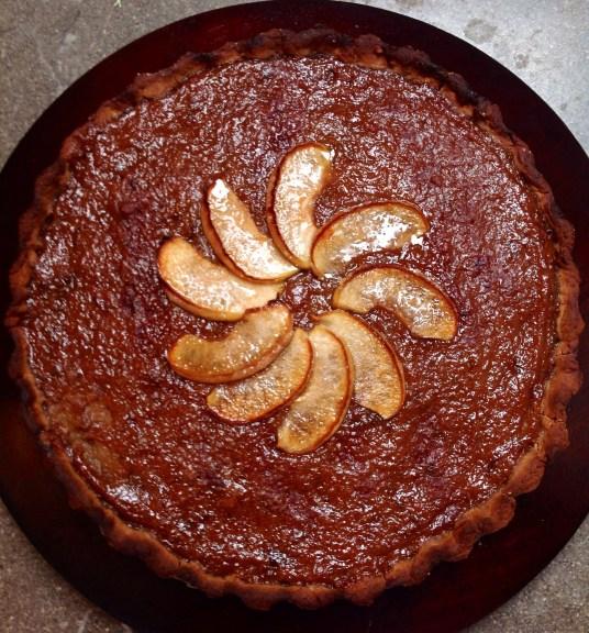 Vegan Chestnut flour Tart with Apple, Plums and Cinnamon Preserve, Caramelized Apples