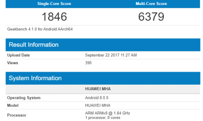 Huawei Mate 9 running on Android 8.0 Oreo