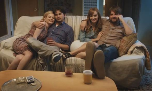 "Emily (Gillian Jacobs), Owen (Jason Ritter), Zoe (Ahna O'Reilly), and Dave (Zachary Knighton) ponder ""The Big Ask"""