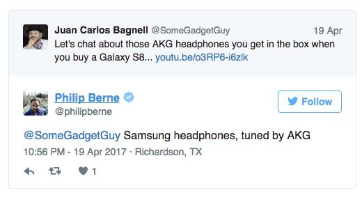Twitter Screenshot of Samsung S8 headphone tuned by AKG