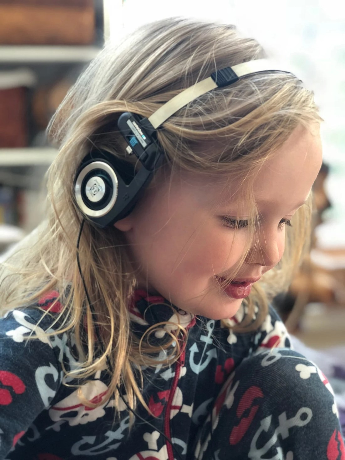 My three-year-old experiencing some of hisfirst headphone listening with the original Porta Pro. It's the perfect gateway to high-quality personal audio.
