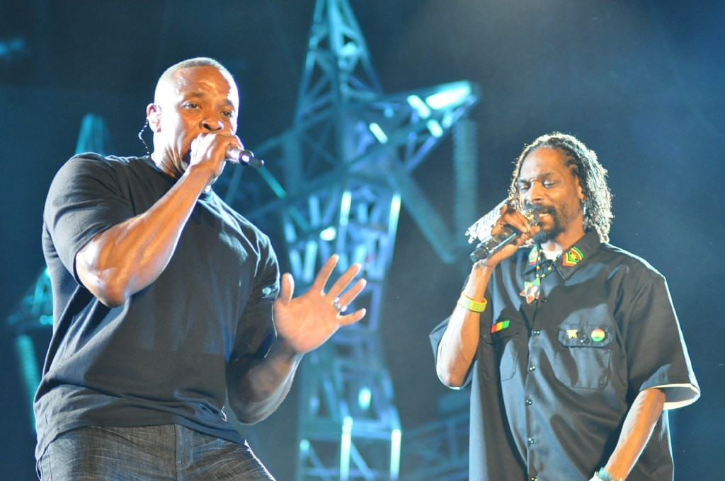 Dr Dre and Snoop Dogg at Coachella 2012 by Jason Persse