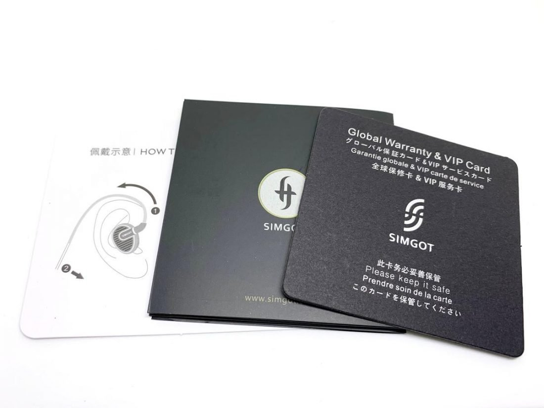 User manuals and warranty card.