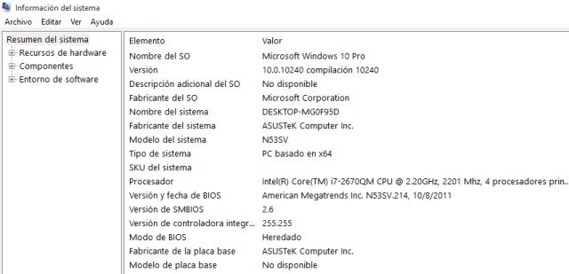 ver informacion de hardware de mi pc