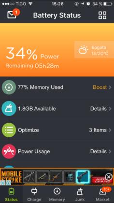 app espacio y bateria iphone