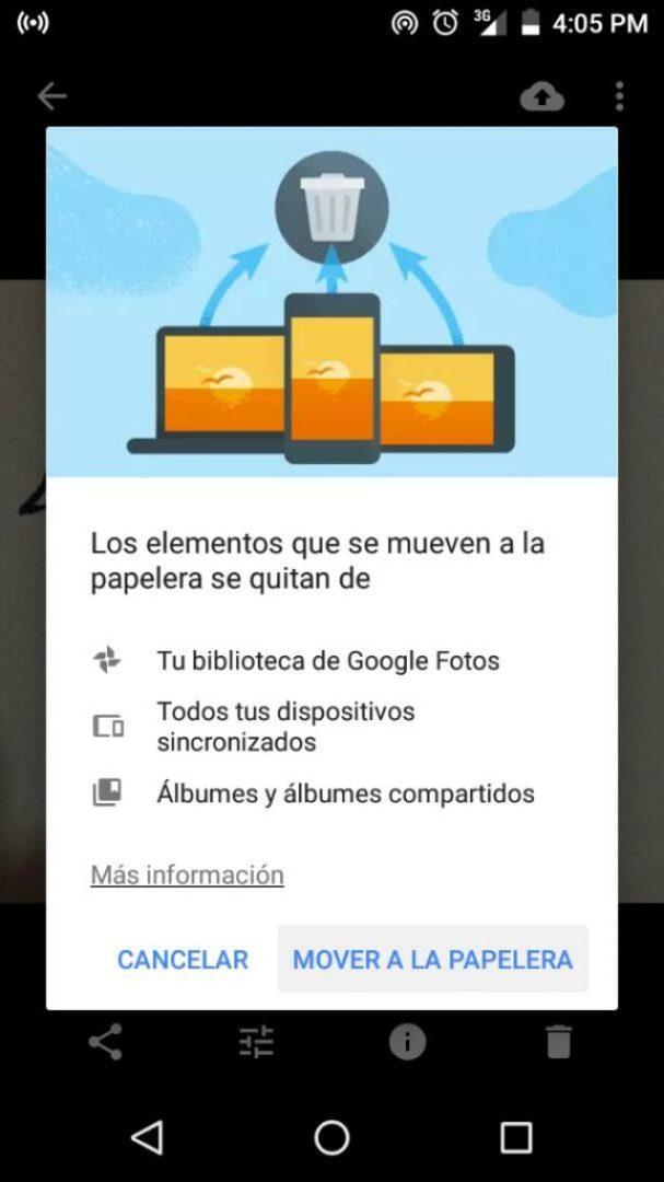 Borrar imágenes de Google Fotos y el movil