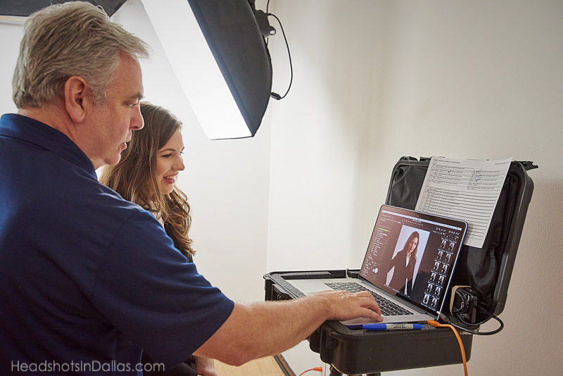 Behind the scenes of image review during a headshot session