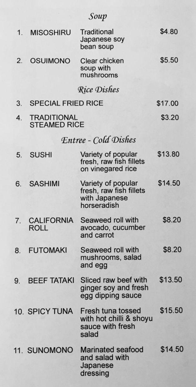 Kai-Zen Japanese Restaurant Menu - Launceston