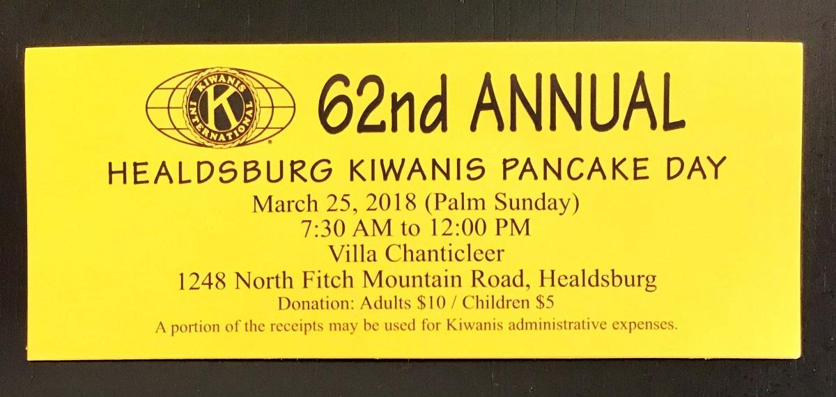 Healdsburg Kiwanis 2018 Pancake Day