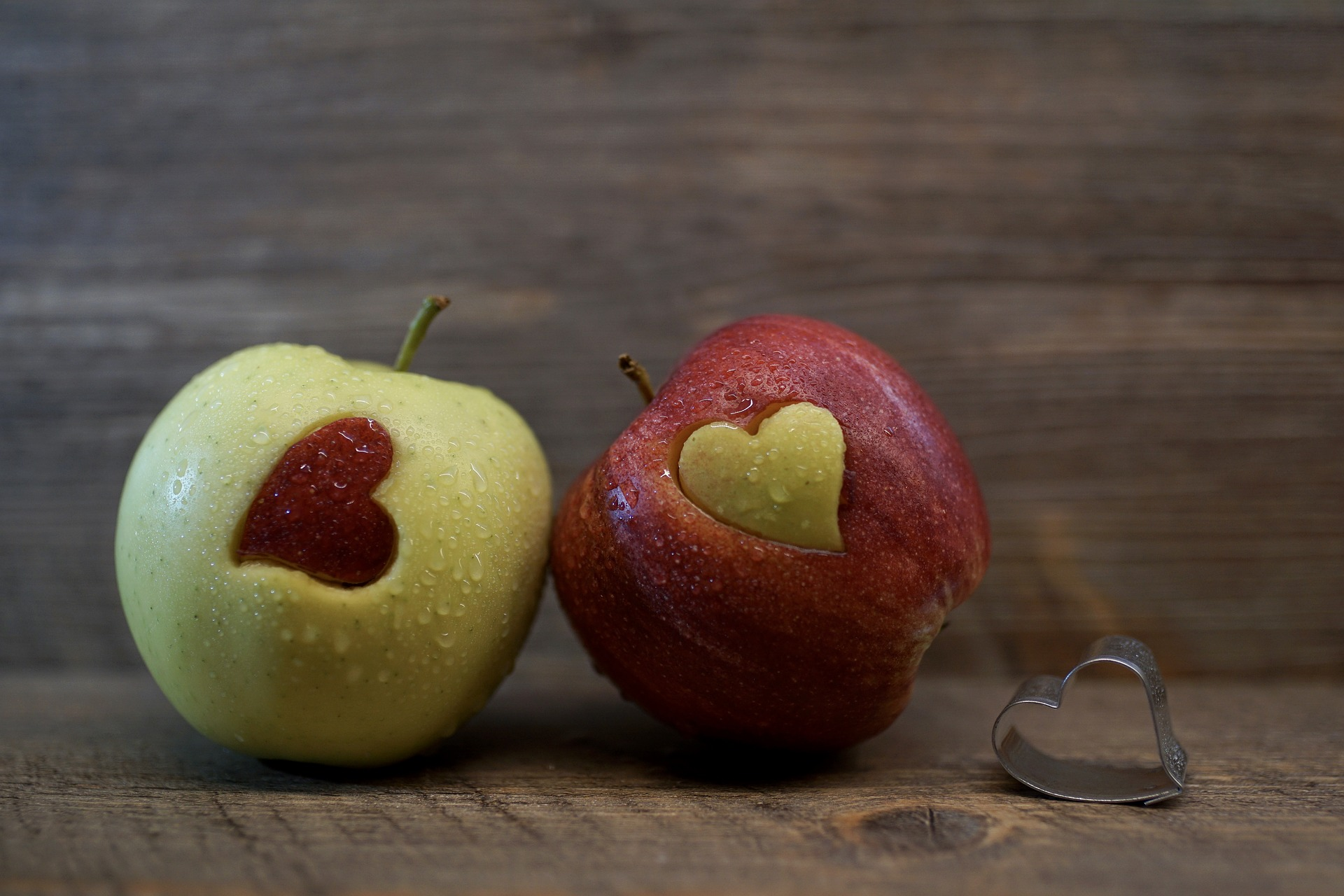 Love heart apples