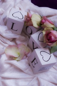 Love spelled on cubes and pink roses