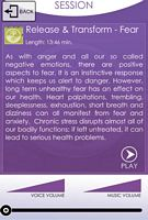 Release, Heal & Transform Fear Session App. Screen