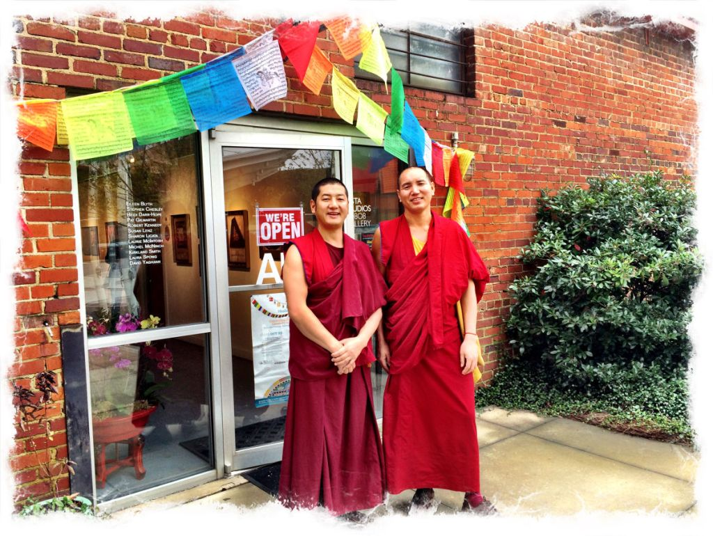 The Tibetan monks are ready to begin our community mandala.