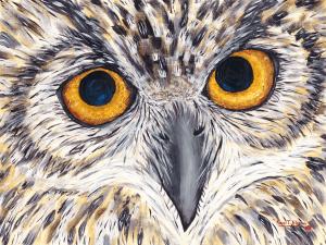 Hootie - The Great Horned Owl by Karen T Hluchan