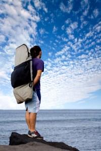 Traveler admiring the sea view