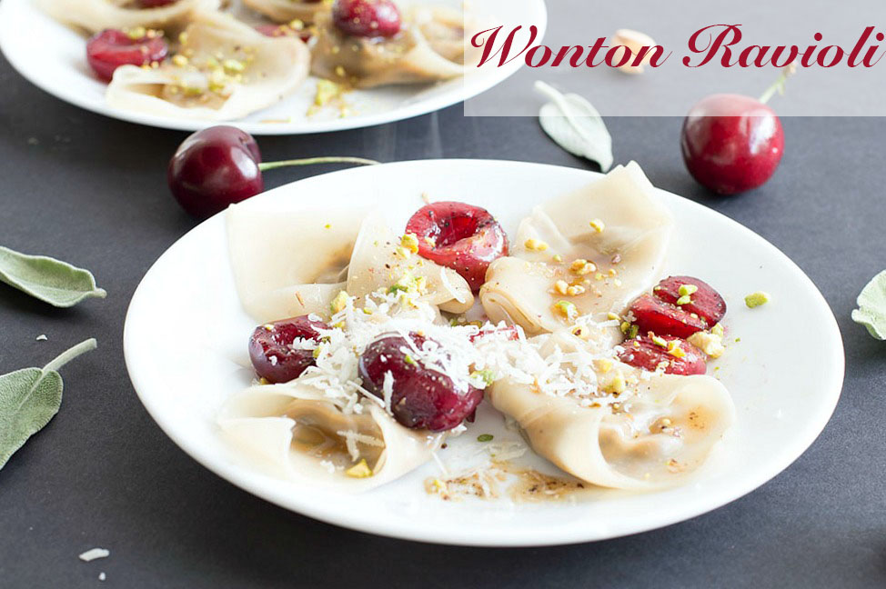 his simple and delicious wonton ravioli is the perfect dinner idea for the whole family to enjoy. Made with fresh mushrooms, bell peppers, shallots and amaretti cookies. Even vegans can find a way to enjoy this recipe.
