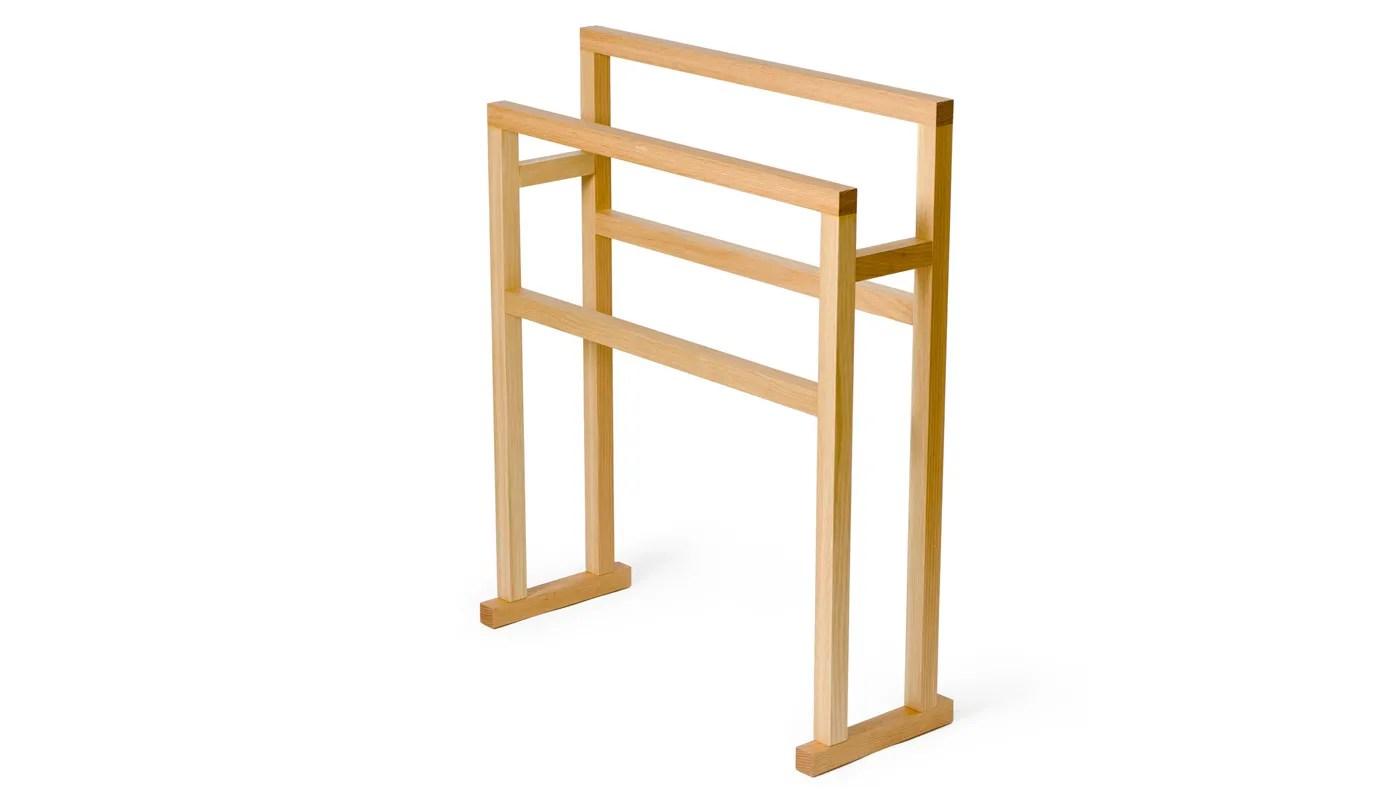 wooden freestanding towel rail large