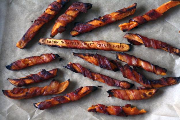 paleo bacon wrapped sweet potato fries