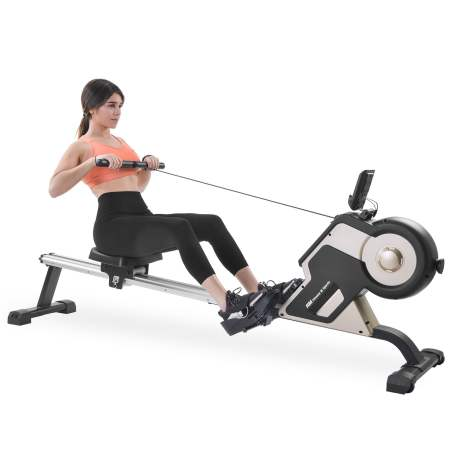 Magnetic Rowing Machine Compact Indoor Rower With Magnetic Tension System, Led Monitor And 8-level Resistance Adjustment Fitness Equipment For Home Gym