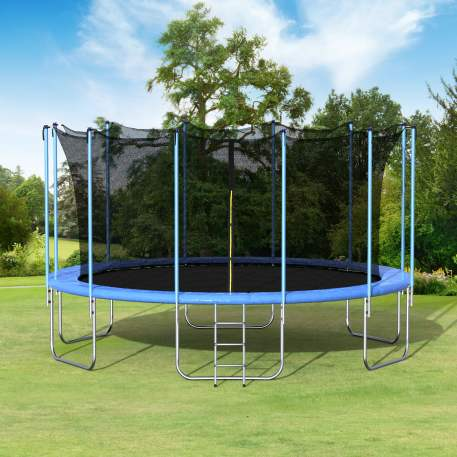16FT Round Trampoline with Safety Enclosure Net & Ladder, Spring Cover Padding