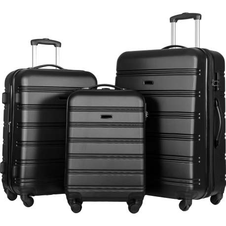 3 Piece Luggage Set Hardside Spinner Suitcase With TSA Lock