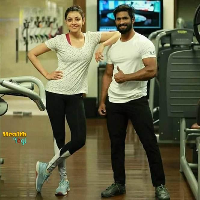 Kajal Aggarwal at gym with his gym Sriram Rayabaram