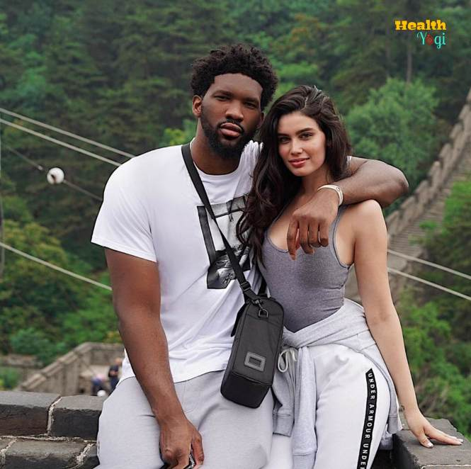 Joel Embiid with his wife